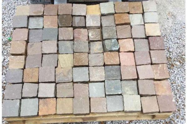 Indian Sandstone Cobbles (Setts) - Raj Green - 100 x 100mm - Individual