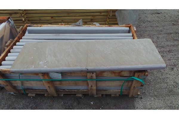 Indian Sandstone Bullnosed Steps & Corners - Riven Raj Green 4