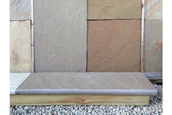 Indian Sandstone Bullnosed Steps and Corners - Riven Raj Green 6