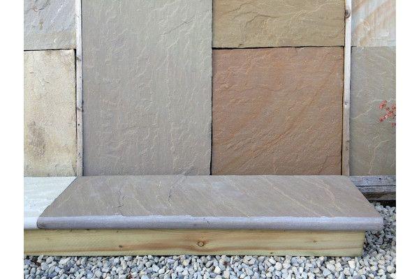 Indian Sandstone Bullnosed Steps and Corners - Riven - Raj Green (Individual Steps)