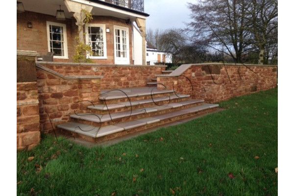 Indian Sandstone Bullnosed Steps & Corners - Riven Raj Green 6