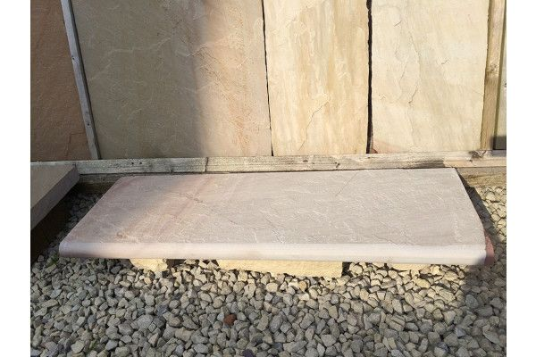 Indian Sandstone Bullnosed Steps and Corners - Riven Rippon Buff 2