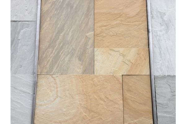 Indian Sandstone Paving - Sawn Rippon Buff - Patio Pack
