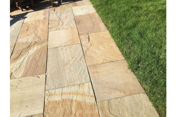 Indian Sandstone Paving - Camel (Rippon Buff) - Patio Pack - Calibrated