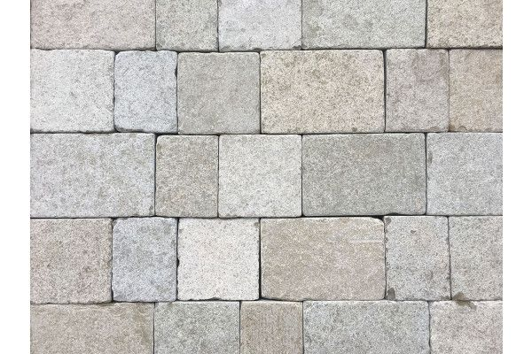 Indian Limestone Setts - Sawn and Tumbled Sandur Yellow - Mixed Project Pack - Calibrated 50mm Block Paving - 1m2