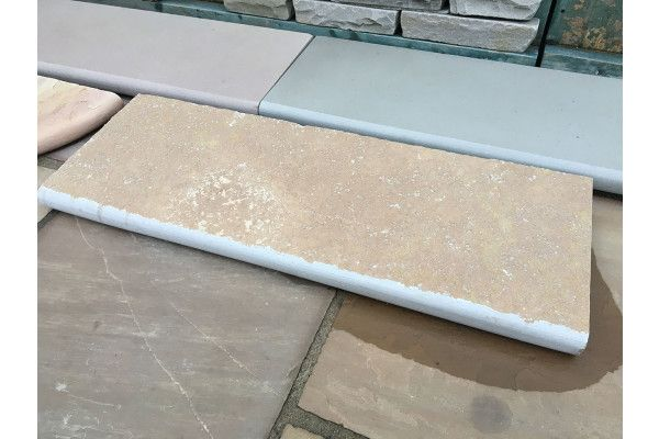 Indian Limestone - Bullnosed Steps - Riven - Sandur Yellow - 1000 x 350mm