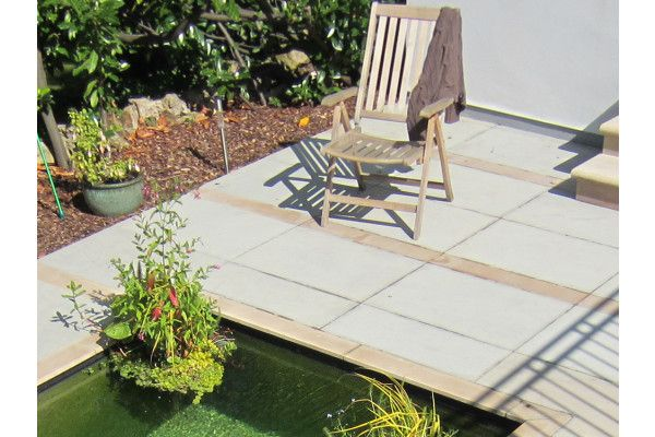 Silver Big Slabs with Caramel Planked Paving