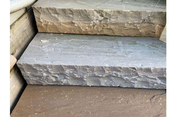 Indian Sandstone Thick Block Steps - Kandla Grey - 1000 x 350mm