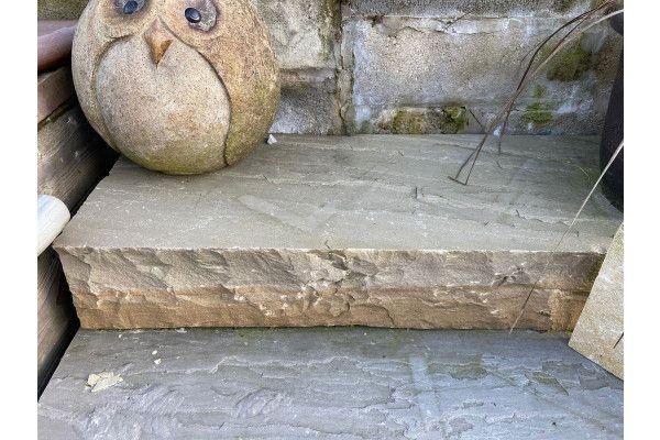 Indian Sandstone Thick Block Steps - Raj Green - 1000 x 350mm