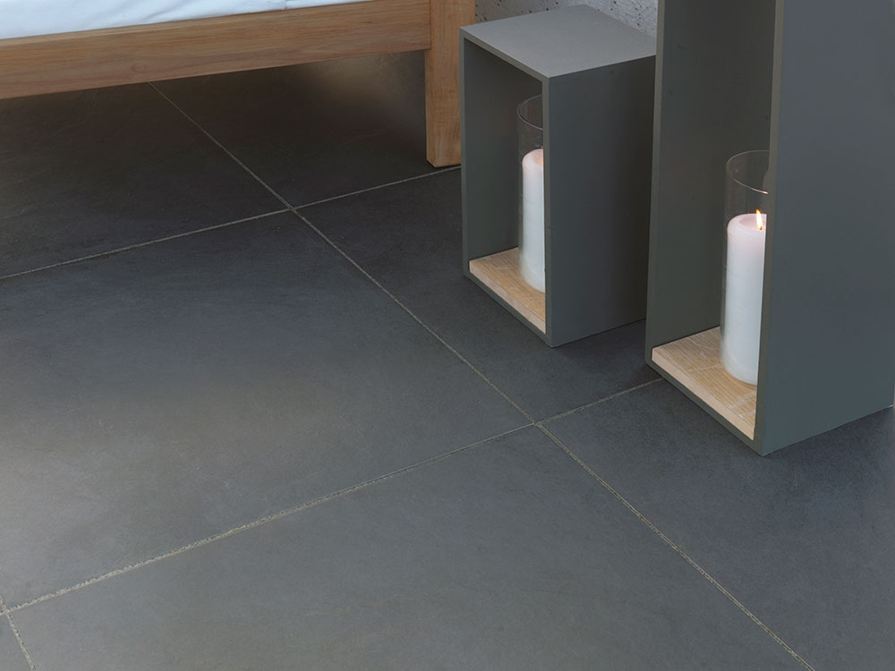 Stonemarket Fortuna Vitrified Paving Black 595 X 595mm