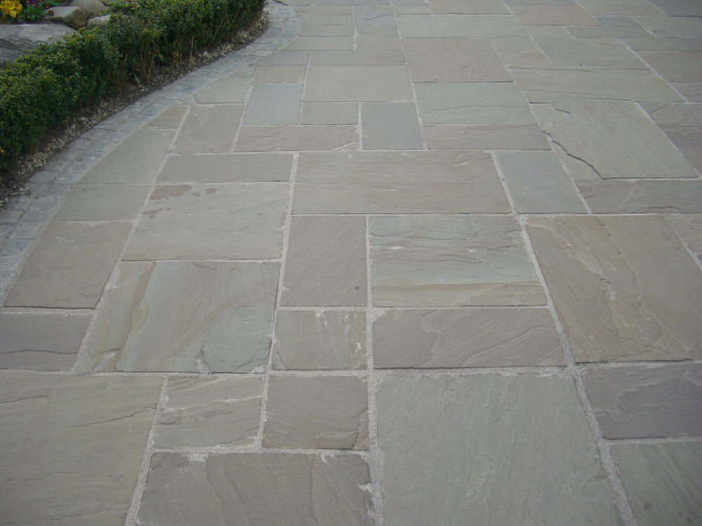 Raj green single sizes indian sandstone paving for Green pavers
