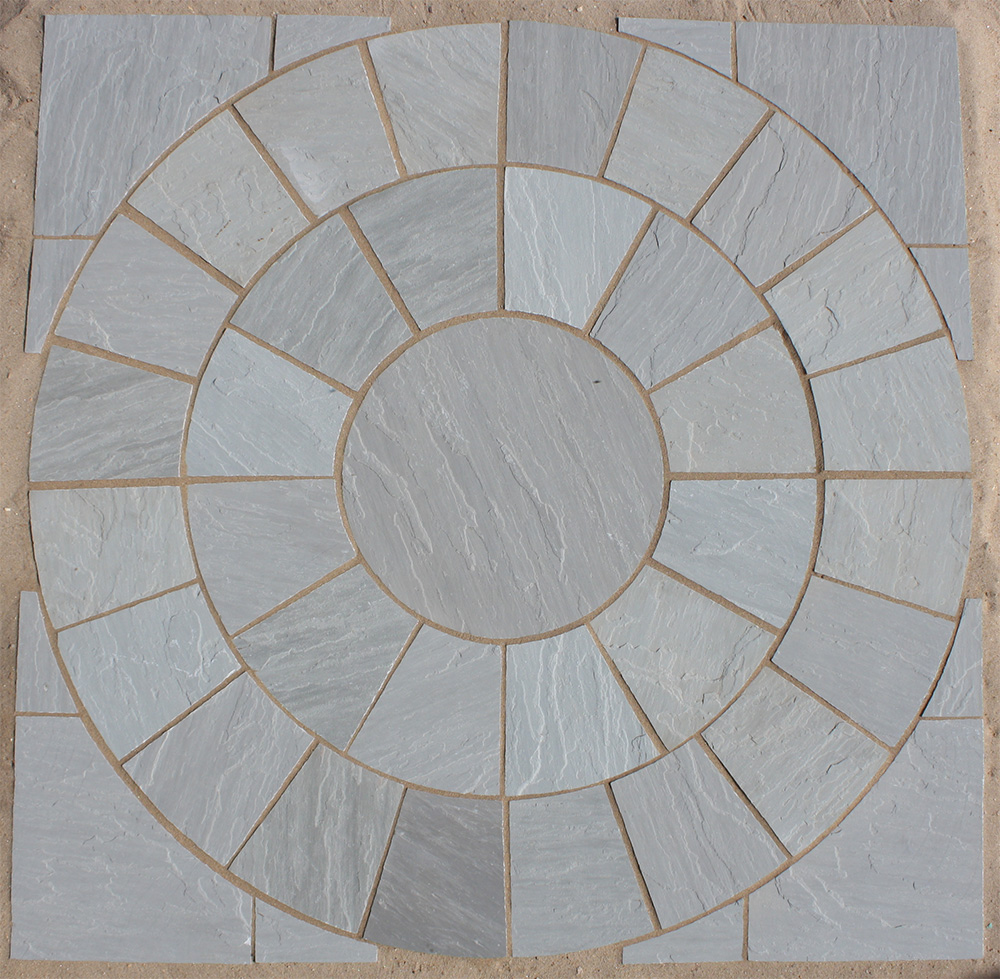 Kandla Grey Circles Indian Sandstone Paving Lsd Co Uk