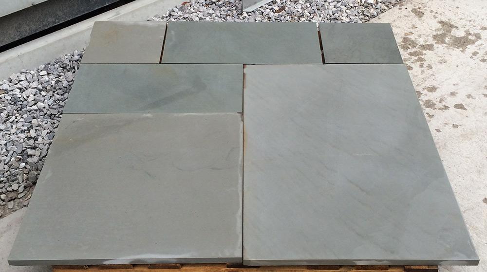 Polished Kandla Grey Patio Pack Indian Sandstone Paving Lsd Co Uk