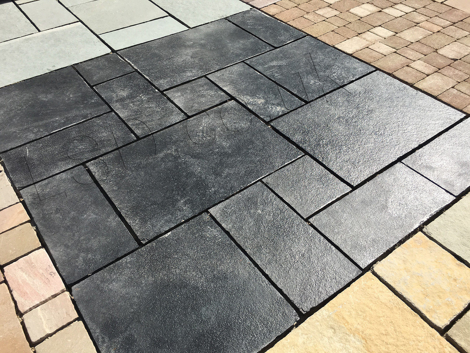 garden planters railway sleepers with Indian Limestone Paving Midnight Kota Black Patio Pack on Stonecraft Paving Slabs Textured Buff also Cheap Paving Slabs Riven Black 450 X 450mm in addition Natural Granite Paving Dark Grey Patio Pack furthermore Planter Box also Square Floating Oak Coffee Table.