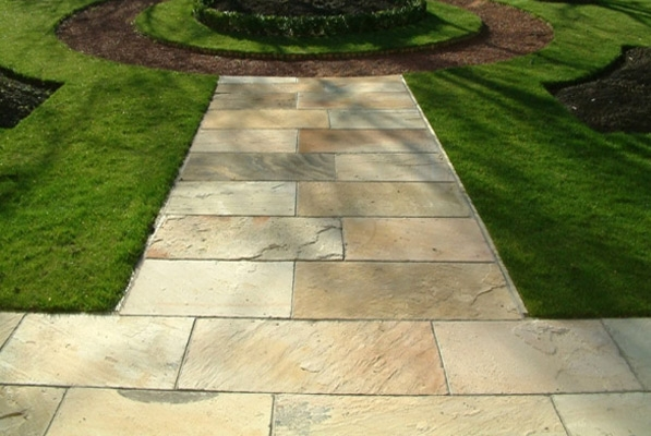 Elegant Indian Sandstone Paving   Mint Fossil   900 X 600mm   Calibrated   Slab