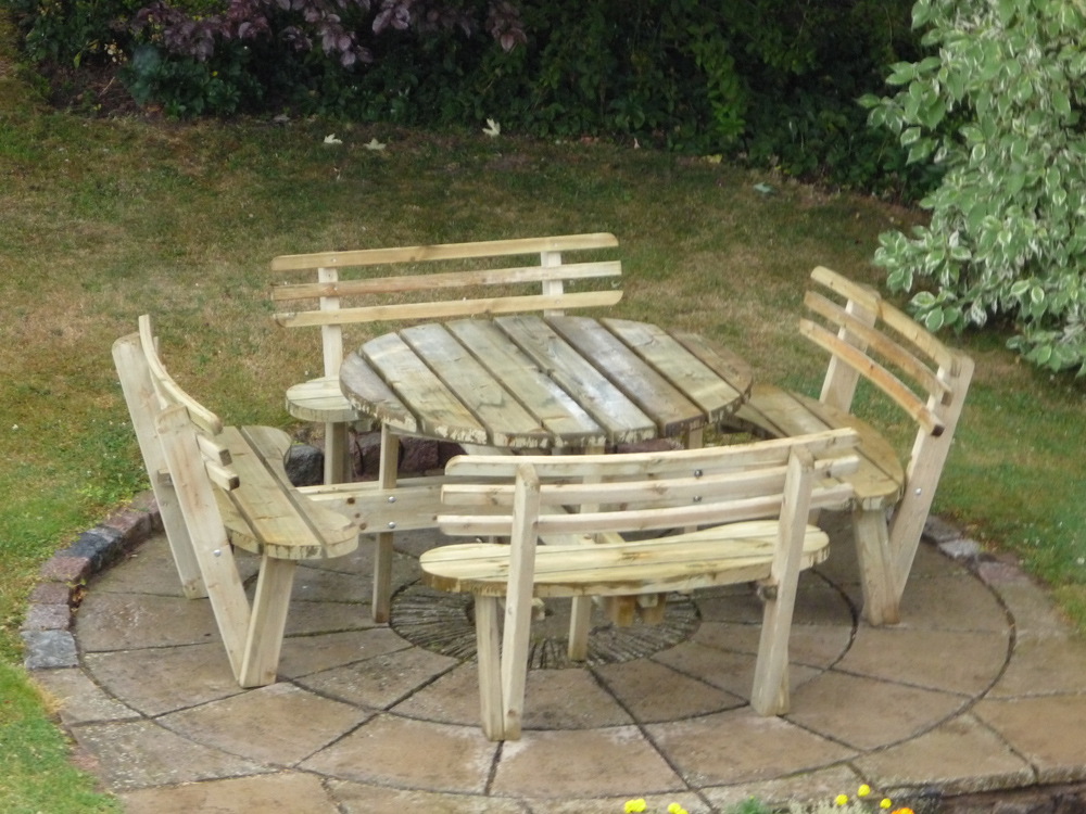 Round 8 Seat Picnic Bench Garden Table With Seat Backs