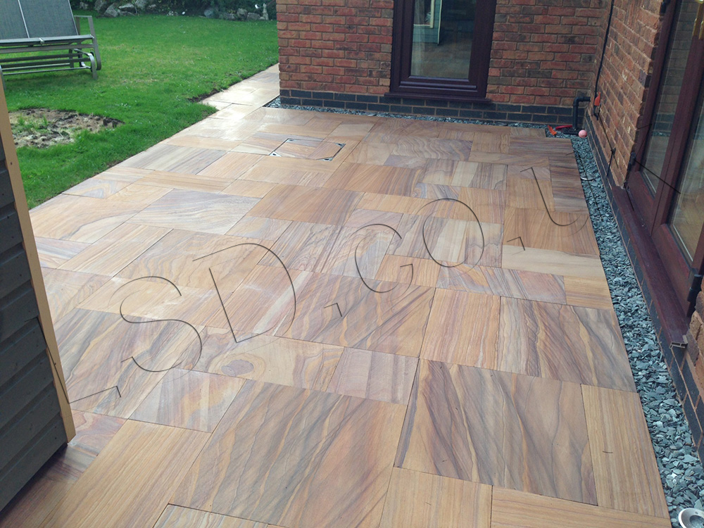 Rainbow Honed Smooth Patio Pack Indian Sandstone Paving